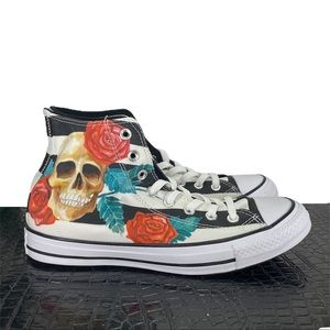 New Converse Hi Top Skull Rose Stripe Print